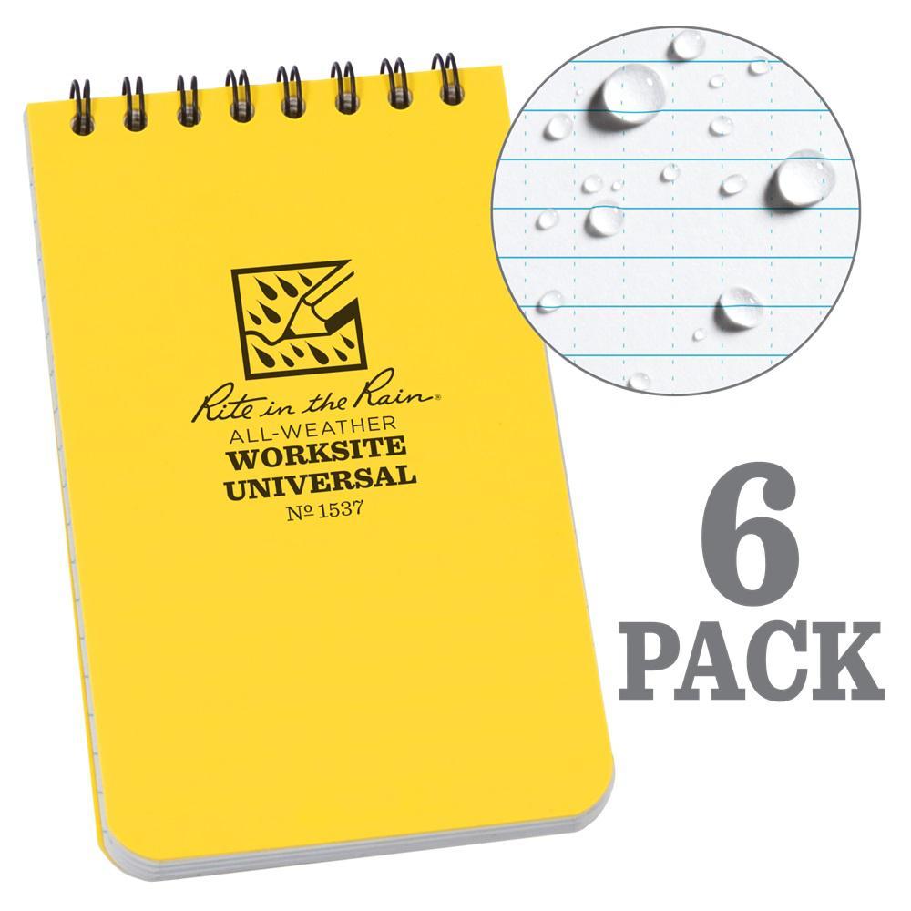 3 in. x 5 in. Top Spiral Contractors Notebook, Yellow (6-Pack)