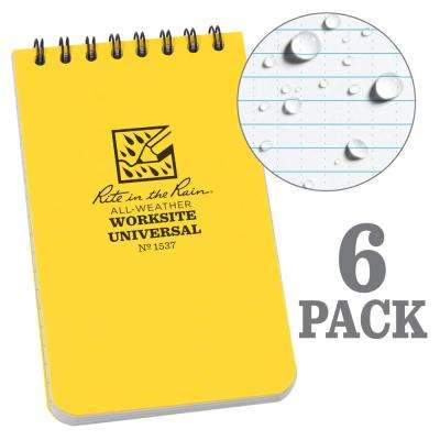 3 in. x 5 in. Top Spiral Contractors Notebook, Yellow (6-Pack)