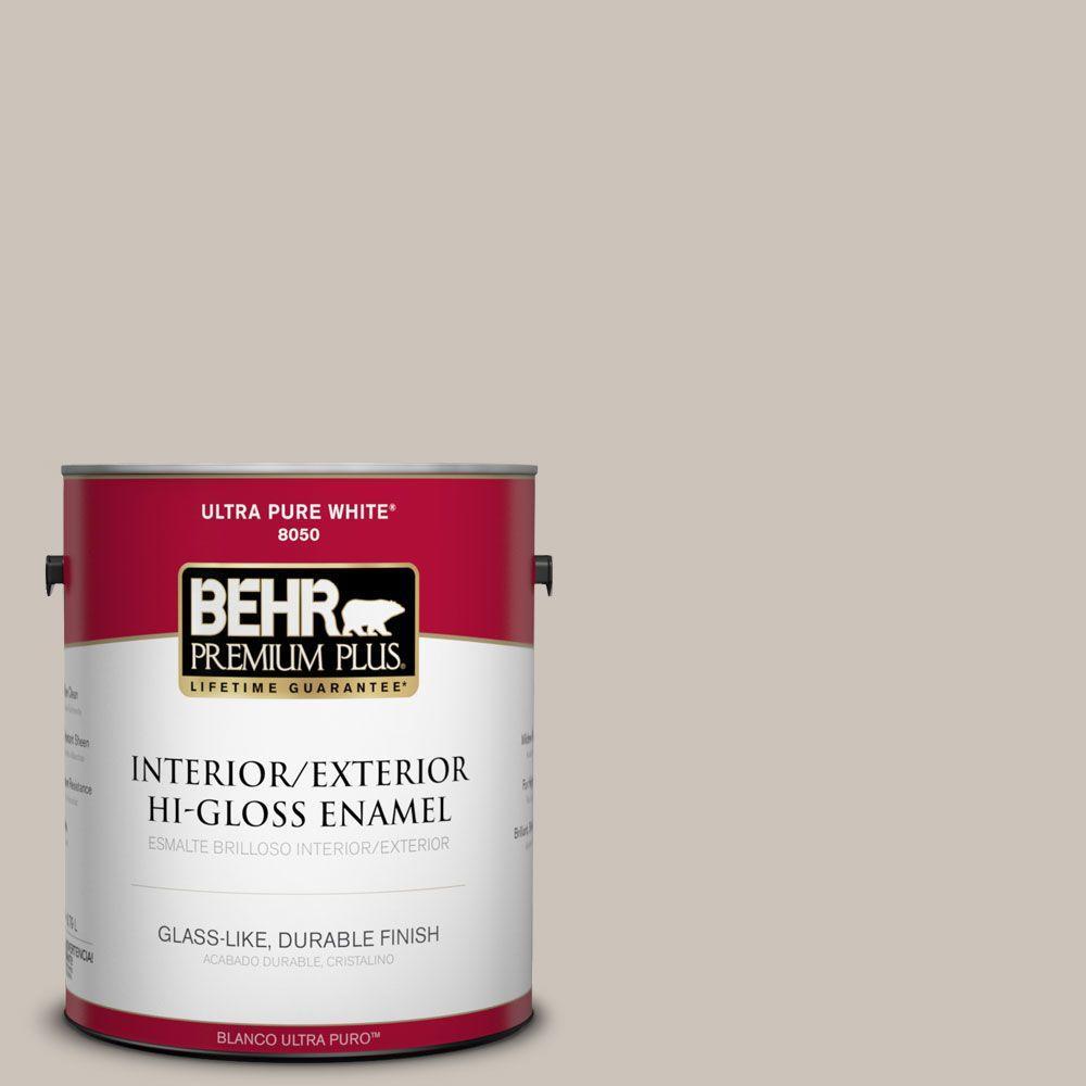 BEHR Premium Plus 1-gal. #N200-2 Doeskin Gray Hi-Gloss Enamel Interior/Exterior Paint