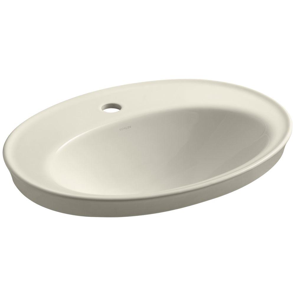 KOHLER Serif Drop-In Vitreous China Bathroom Sink in Almond with Overflow Drain