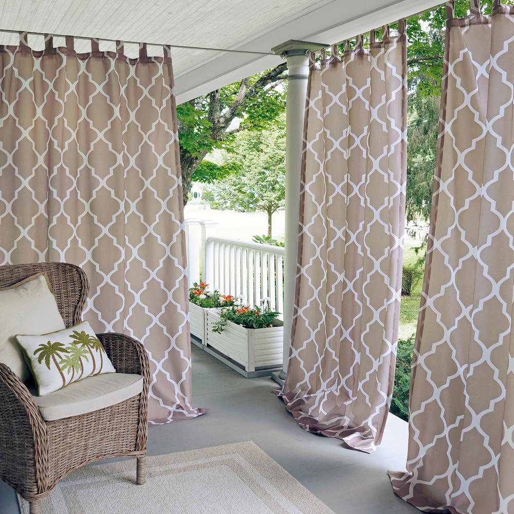 Semi-Opaque Corado 50 in. W x 84 in. L Indoor/Outdoor Tab Top Window Curtain Beige