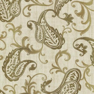 Darro Gold Global Paisley Wallpaper Sample