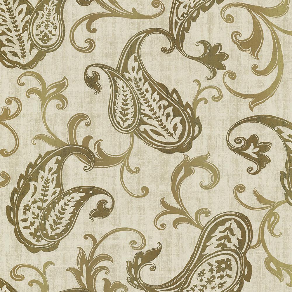 Kenneth James Darro Gold Global Paisley Wallpaper Sample 2618-21307SAM
