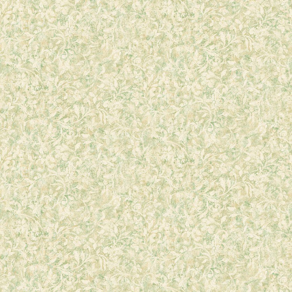 The Wallpaper Company 56 sq. ft. Green Asian Floral Wallpaper