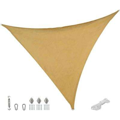 16 ft. x 16 ft. Beige Triangle Sun Shade Sail with Hanging Hardware