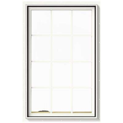 30 in. x 48 in. W-2500 Series White Painted Clad Wood Left-Handed Casement Window with Colonial Grids/Grilles