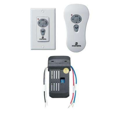 White Ceiling Fan Wireless Non-Dimming Fluorescent Control Kit with Remote