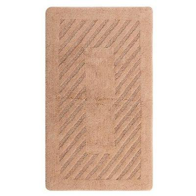 Diagonal Racetrack Natural 24 in. x 40 in. Reversible Bath Rug