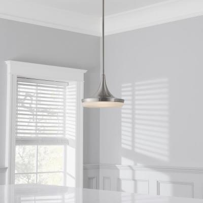40-Watt Equivalent 10 in. Brushed Nickel Integrated LED Mini Pendant