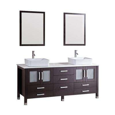 Duma 72 in. Double Bath Vanity in Espresso with Stone Vanity Top in White with White Basin and Mirror