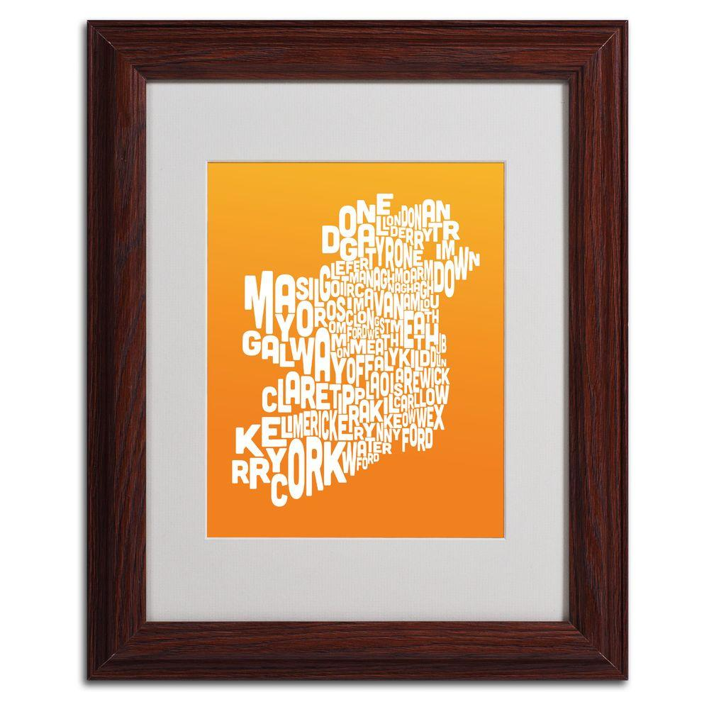 11 in. x 14 in. Ireland Text Map - Orange Matted