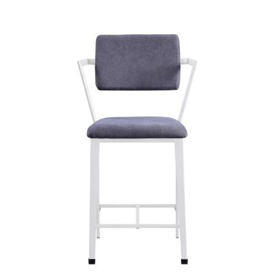 Gray Fabric and White Cargo Counter Height Chair (Set of 2)