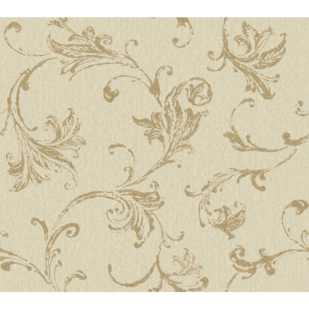 Burlap Textured Scroll Wallpaper