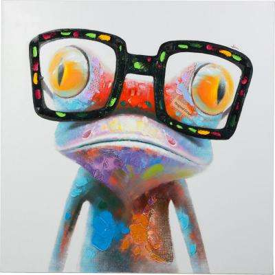 "20 in. x 20 in. ""Amazing Gecko"" Hand Painted Canvas Wall Art"