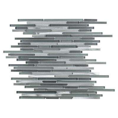 Fusion Mini Linear Sonoma 11-3/4 in. x 11-3/4 in. x 6 mm Brushed Aluminum and Glass Mosaic Tile