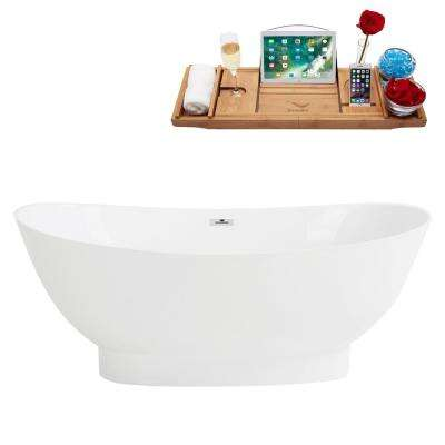 63 in. Solid Surface Resin Flatbottom Non-Whirlpool Bathtub in White