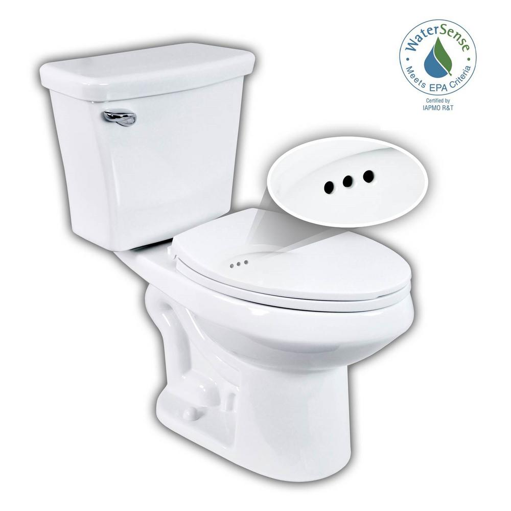 Penguin Toilets 2-pc. 1.28 GPF Single Flush Elongated Toilet with Patented Overflow Protection Technology in White with Seat