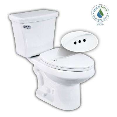 2-pc. 1.28 GPF Single Flush Elongated Toilet with Patented Overflow Protection Technology in White with Seat