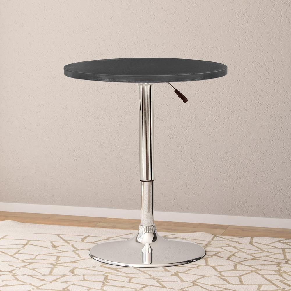 Adjustable Height Black Swivel Round Bar Table