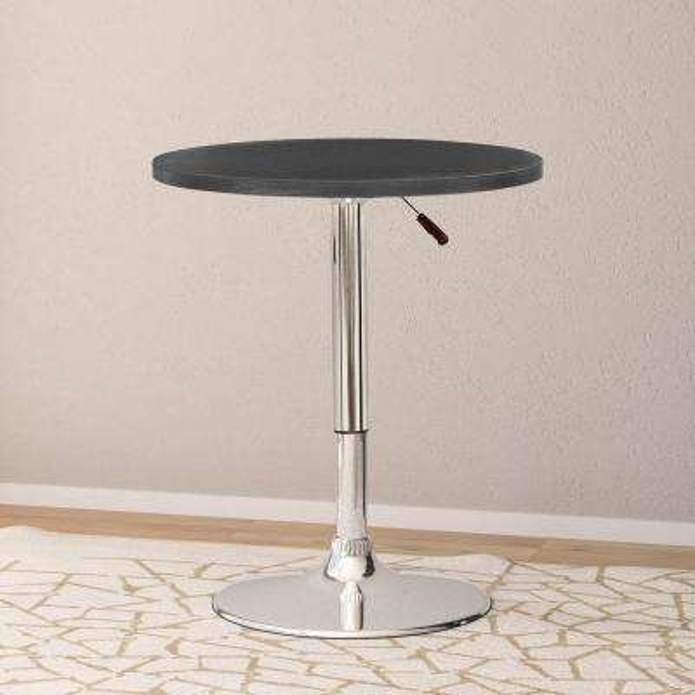 Adjustable Height Black Swivel Round Bar Table