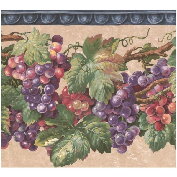 Wallpaper Border Red /& Green Apple Leaf Vine on White with Red Trim