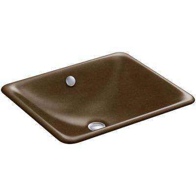Iron Plains Dual-Mounted Cast Iron Bathroom Sink in Black 'n Tan with Overflow Drain