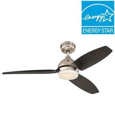 Morgan 54 in. LED Indoor/Outdoor Brushed Nickel Ceiling Fan with SkyPlug Technology