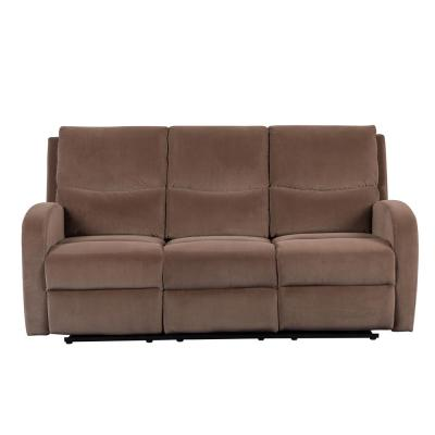Louis 72.5 in. Brown Velvet 3-Seater Lawson Reclining Sofa with Slope Arms