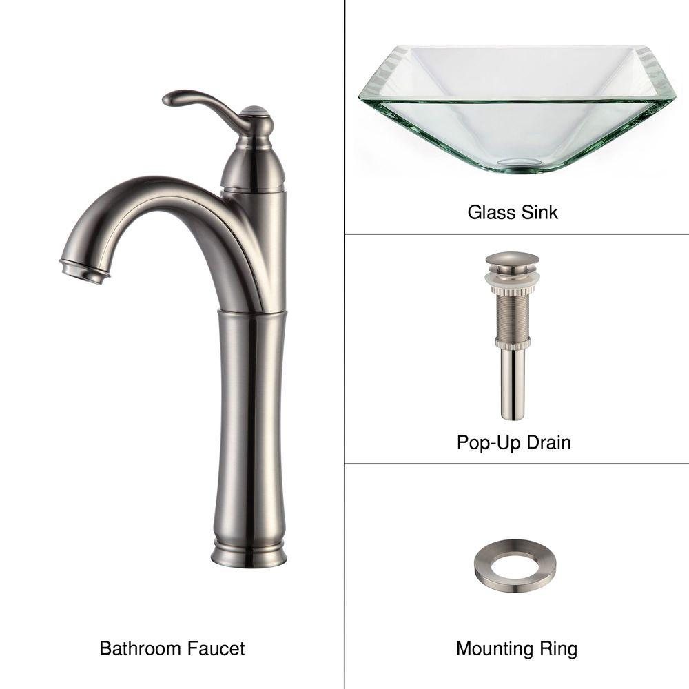 KRAUS Square Glass Vessel Sink in Clear with Riviera Faucet in Satin Nickel