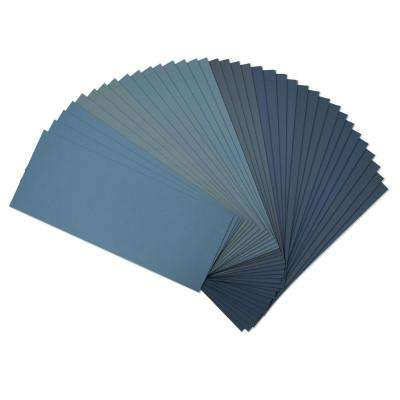 9 in. x 3.6 in. 4 of each 400, 600, 800, 1000, 1200, 1500, 2000, 2500, 3000 Assorted Grit Wet Dry Sandpaper (36-Pack)