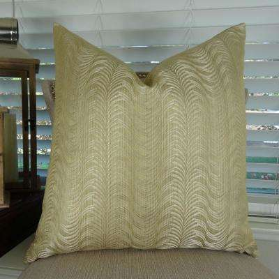 Delicate Waves 20 in. x 20 in. Taupe Hypoallergenic Down Alternative Handmade Throw Pillow