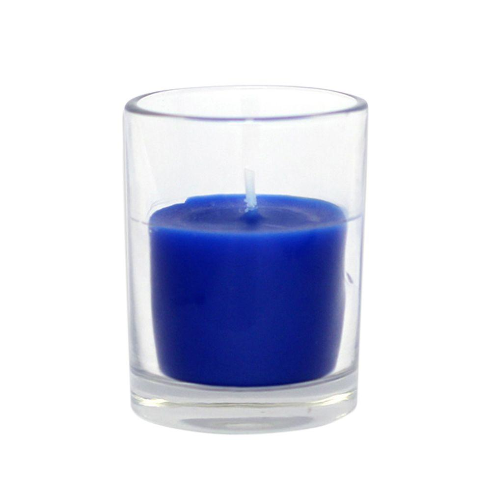 Zest Candle 2 in. Blue Round Glass Votive Candles (12-Box)
