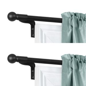 Smart Rods No Measuring Easy Install Adjustable Cafe Window Rod, 48 to 120 in., with Ball Finials in Black, 2-Pack Rods