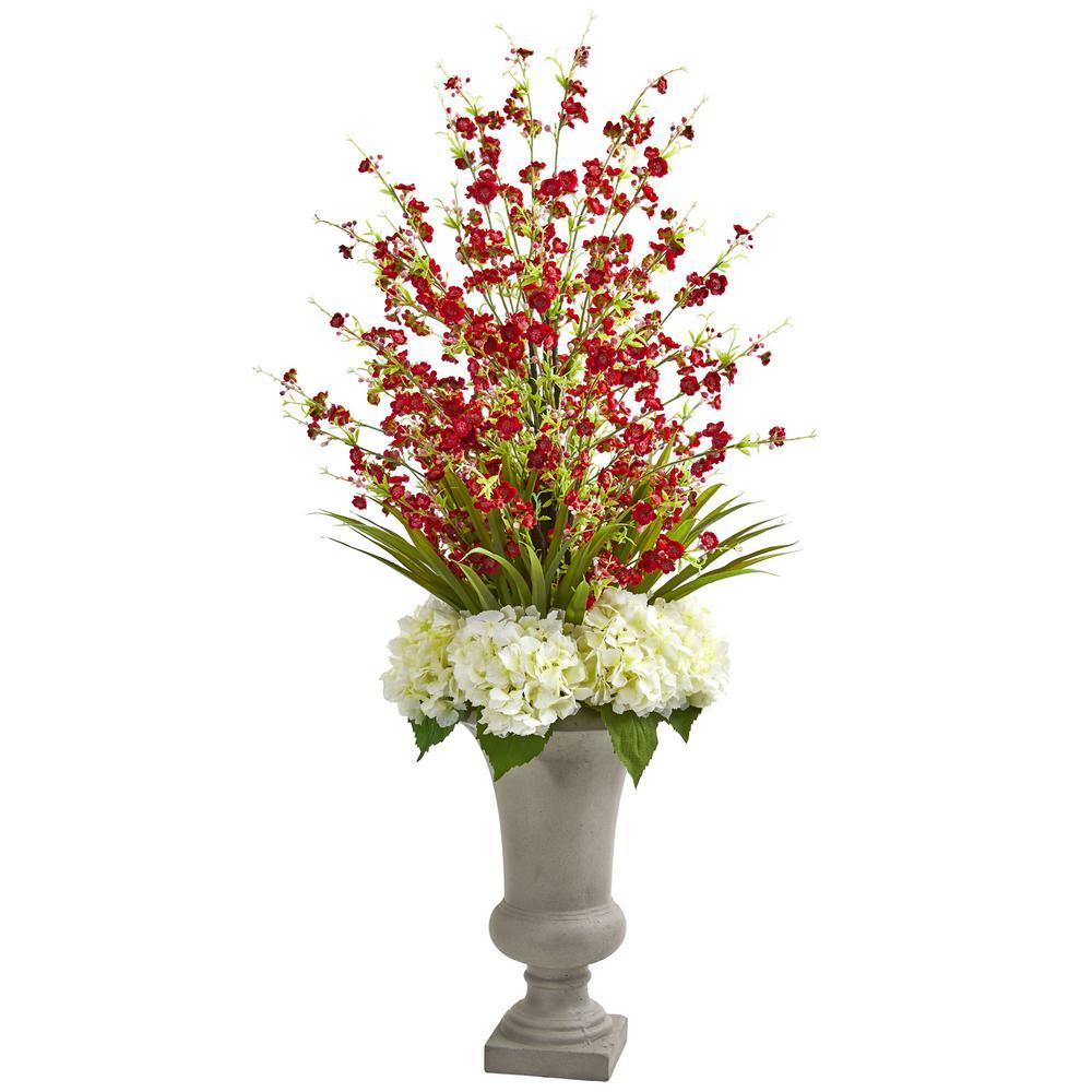 Indoor Cherry Blossom & Hydrangeas Artificial Arrangement in Urn