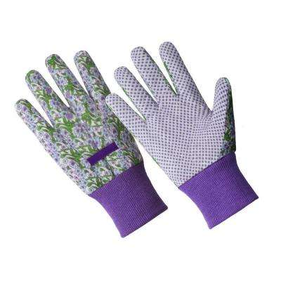 Ladies Small/Medium Purple Flower Poly/Cotton Blend Gloves with PVC Dotted Palm and Knit Wrist