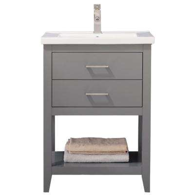 Cara 24 in. W x 18 in. D Bath Vanity in Gray with Porcelain Vanity Top in White with White Basin