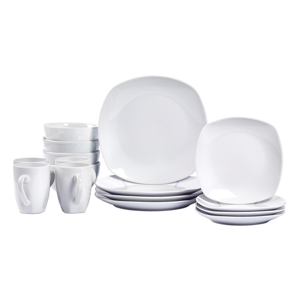 Tabletops Gallery 16-Piece White Logan Soft Square Dinnerware Set ...