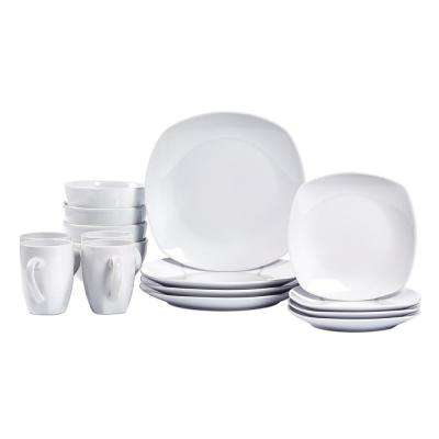 16-Piece White Logan Soft Square Dinnerware Set