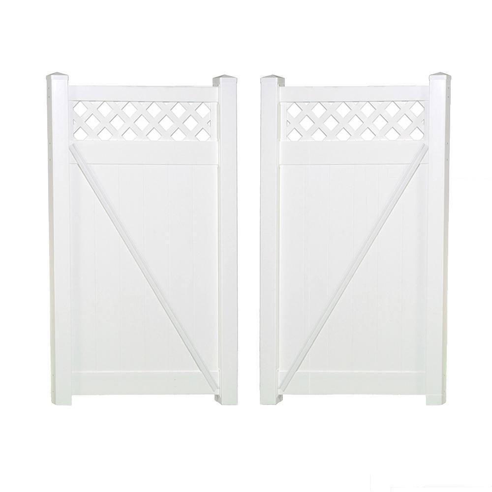 Ashton 7.4 ft. x 5 ft. White Vinyl Privacy Double Fence Gate