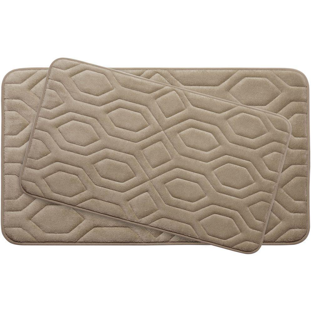Turtle Shell Linen Memory Foam 2-Piece Bath Mat Set
