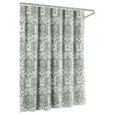 Paige Cotton Luxury 72 in. x 72 in. L Shower Curtain in Gray