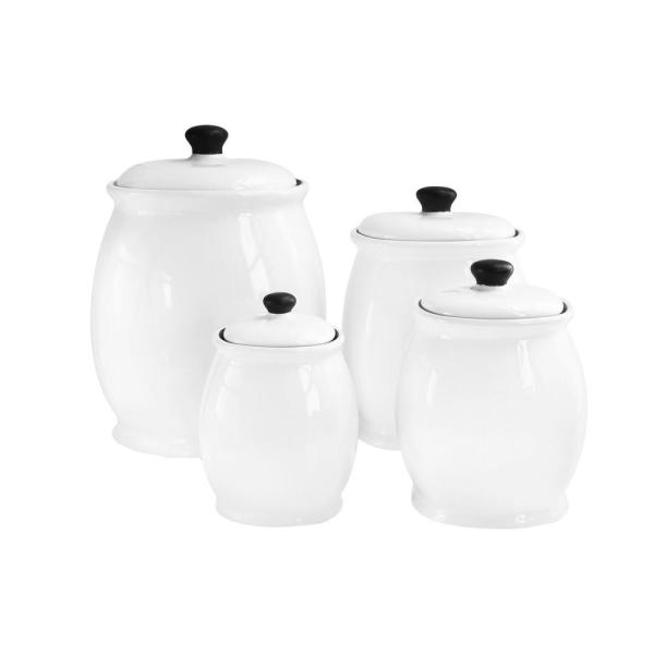 American Atelier 4-Piece White Ceramic Canister Set with Lid 6648-can