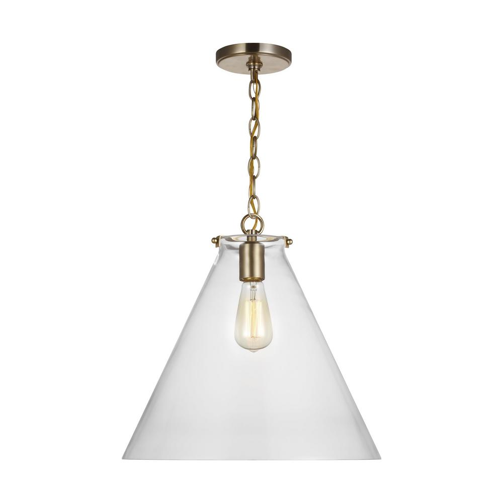 Sea Gull Lighting Kate 1 Light Satin Brass Cone Pendant With Clear Glass Shade 6592101 848 The Home Depot