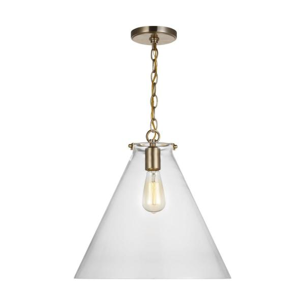 Kate 1-Light Satin Brass Cone Pendant with Clear Glass Shade