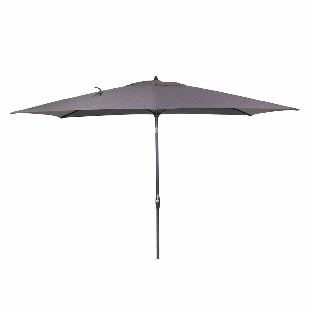 10 ft. x 6 ft. Aluminum Market Patio Umbrella in Graphite