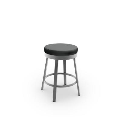 Clock 26 in.Glossy Grey Metal Mat Charcoal Black Polyurethane Counter Stool