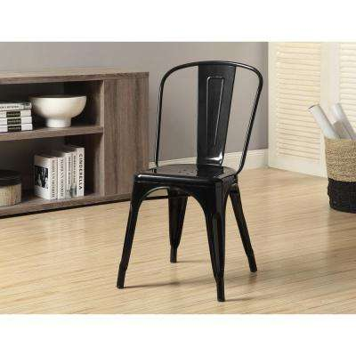 Glossy Black Metal Dining Chair (Set of 2)