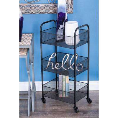 3-Tier Black Iron Mesh Basket Cart