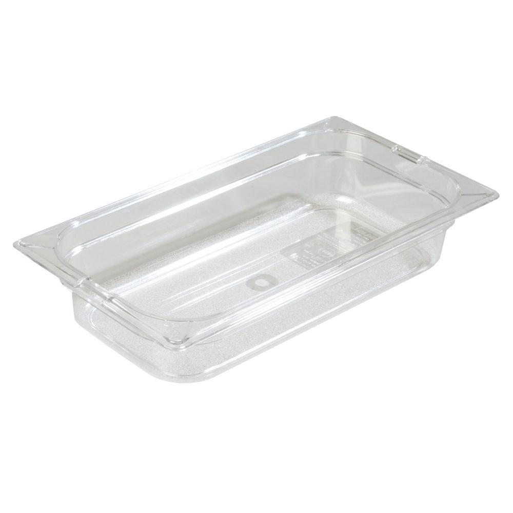 Carlisle 1/3 Size, 2.4 qt., 2.5 in. D Polycarbonate Food Pan in Clear, Lid not Included (Case of 6)