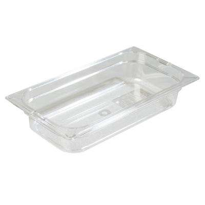 1/3 Size, 2.4 qt., 2.5 in. D Polycarbonate Food Pan in Clear, Lid not Included (Case of 6)